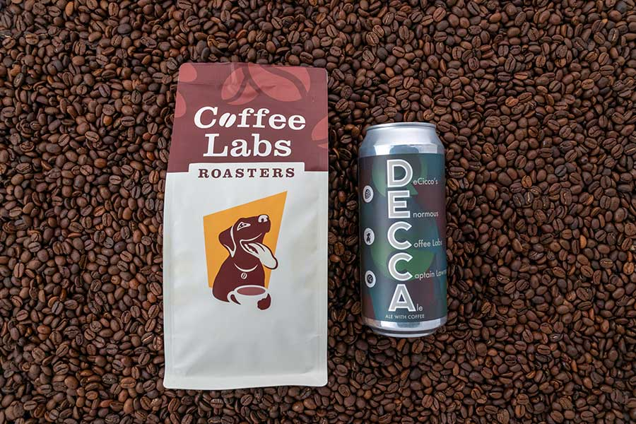 Coffee Labs Coffee and can of DECCA beer